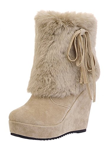 Tan Boots Snowshoes - Aisun Women's Warm Faux Fur Lined Round Toe Wedge Winter Short Boots High Heel Pull On Platform Ankle Snow Booties (Beige, 6 B(M) US)