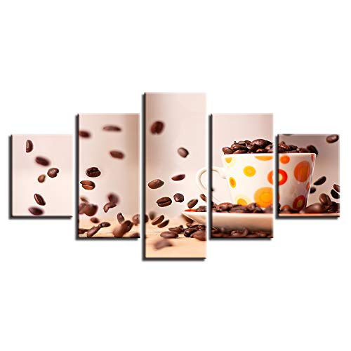 Frame 20x35 20x45 20x55cm LONLLHB Painting Canvas Painting Modular Home Decor Hd Prints 5 Piece Coffee Beans Pictures Kitchen Wall Art Modern Restaurant Poster Frame