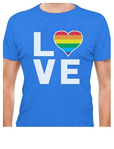 Gay Love - Rainbow Heart Gay Pride Awareness T-Shirt Medium Aqua ()