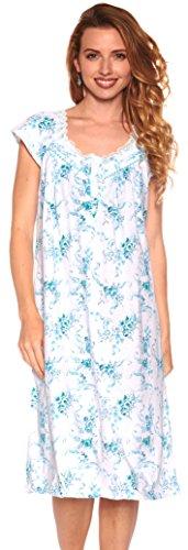 Floopi Womens Nightgown Sleepwear Cotton Pajamas Womans Cap Sleeve Sleep Dress Nightshirt (L, (Sleeve Floral Nightshirt)