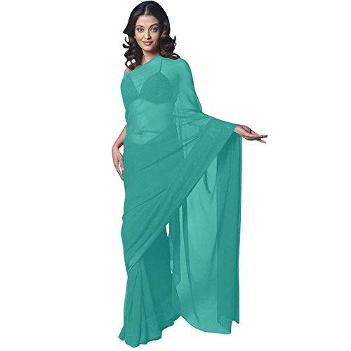 Blue Turquoise Sari (Chiffon Bollywood BellyDance Indian Saree Sari - Turquoise)