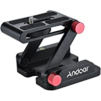 Andoer Z-shaped Aluminum Alloy Foldable Camera Desktop Holder Quick Release Plate Tilt Head for Nikon Canon Sony Pentax DSLR Camcorder Video Track Slider Tripod Film Making Macrophotography