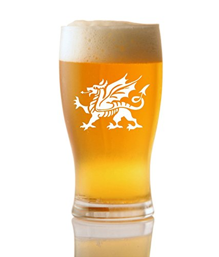 (1 Pint Tulip Beer Glass With Welsh Dragon Design)