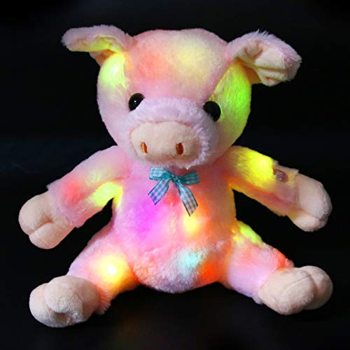 Bstaofy Glow Pink Pig Stuffed Animal LED Light up Piggy Plush Toy Bedtime Fluffy Gift for Toddlers Kids, 9.5''