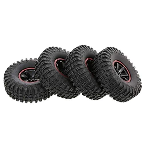 4Pcs Tyres Wheel Set For 1/10th Scale RC Off-Road Buggy Car 6 Spokes Rim