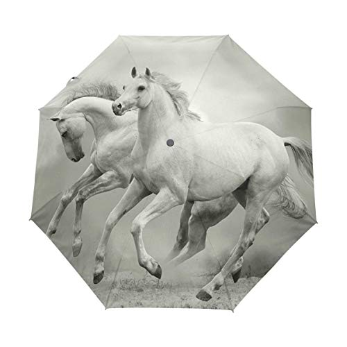 Couple White Horses Auto Open Close Handle Umbrella Cute Woodproof Compact Rain Umbrella by THENAGD