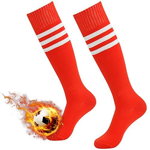 Red Football Socks, Three Street Youth School Uniform Keep Warm Stripe Over Calf Sport Football Tube Socks for Back to School Red+White Stripe ()
