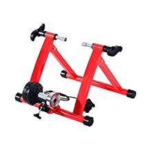 Soozier 17R Magnetic Indoor Exercise Bike Bicycle Trainer 5 Level Resistance -Red