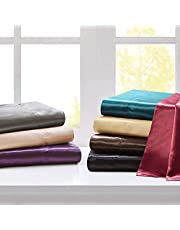 "Madison Park Essentials Satin Wrinkle-Free Luxurious And Silky With 16"" Deep Pocket 6 Piece Durable Sheet Set"