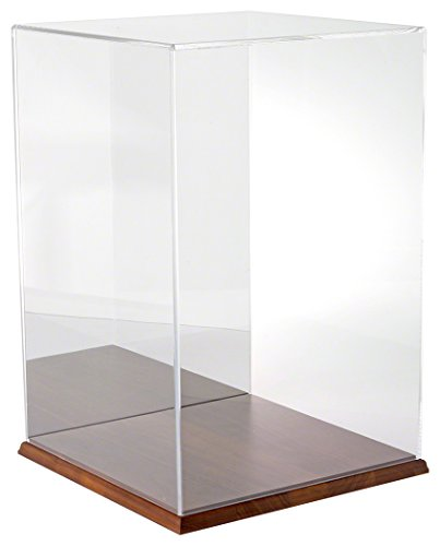 Plymor Brand Clear Acrylic Display Case with Hardwood Base (Mirror Back), 12'' W x 12'' D x 18'' H by Plymor