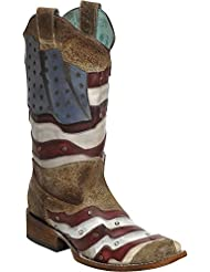 CORRAL Womens Laser-Cut American Flag Stud Cowgirl Boot Square Toe - C3131