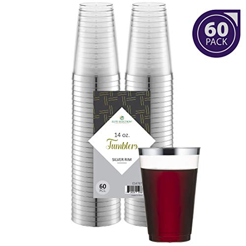 Silver Plastic Cups 14 Oz. Pack of (60) Clear Disposable Plastic Cups - Silver Rim Cups - Fancy Hard Plastic Cups - Party Accessories - Wedding - Elegant Clear Cups- Tumblers (Silver 16 Oz Plastic Cups)