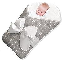 Envoltura /envoltura /manta para bebés BundleBee, luz de plumas /lunares grises, 0-4 meses