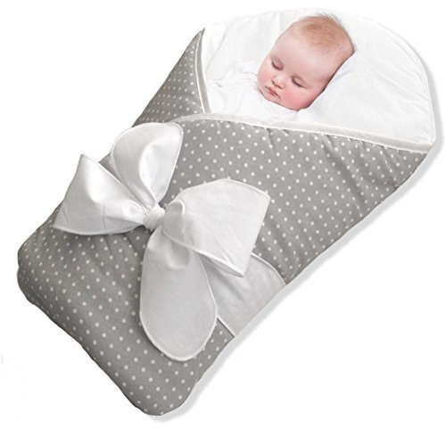 (BundleBee Baby Wrap/Swaddle/Blanket, Feather Light/Grey Polka Dot, 0-4 Months)