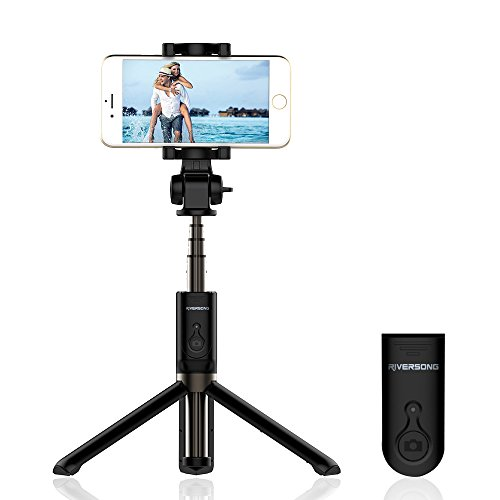 Selfie Stick Tripod, RIVERSONG Extendable Monopod with Bluetooth Remote Handheld Tripod, Wireless Phone Selfie Stick for iPhone 7 6S 6 Plus 5S, Samsung Galaxy S7 S6 S5 Note 4 and More