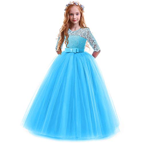 IBTOM CASTLE Spring Flower Girl Wedding Bridesmaid 3/4 Sleeves Kids Floral Lace Pageant Communion Princess Dress Prom Evening Dance Gown Dark Blue 13-14 Years from IBTOM CASTLE