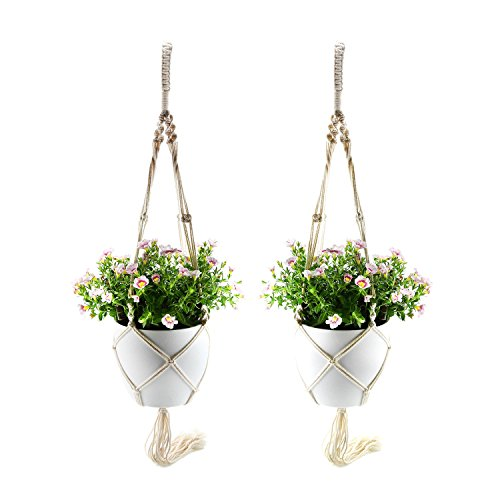 """T4U 7"""" Macrame Planter Pot Hanger and Plastic Self Watering Planter with Water Level Indicator White Pack of 2, Modern Decorative Hanger Pot for Most Plants, Flowers, Herbs, African Violets"""