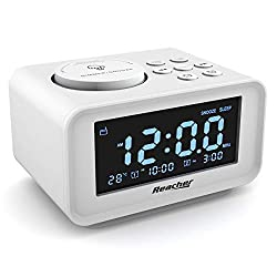 REACHER Dual Alarm Clocks Radio with Charging USB Ports, 6 Wake up Sounds, Adjustable Alarm Volume, Dimmer, Snooze, Thermometer Display, FM Radio with Sleep Timer, Small Size for Bedrooms(White)