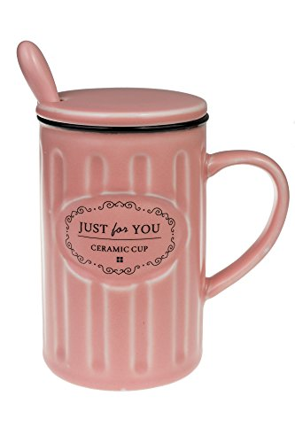 Coffee ceramic mug with lid and spoon (romantic pink)