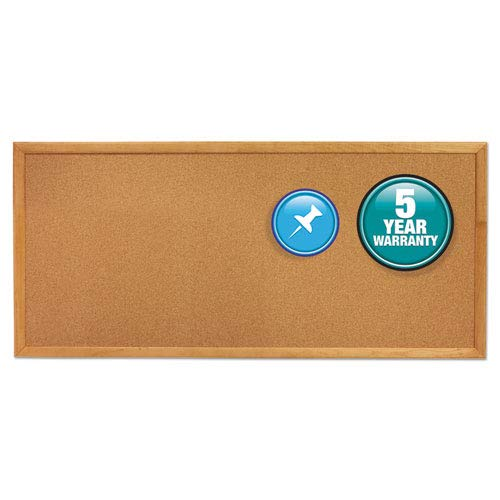 Classic Series Slim Line Cork Bulletin Board, 12 x 36, Oak Finish Frame