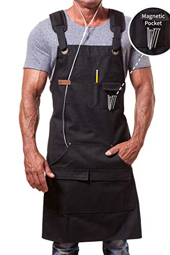 MENT Trends Work Apron For Men Women Heavy Duty Waxed Canvas Black Waterproof Shop Bib Adjustable M to XXL; Magnetic Pocket + Quick Release Buckle + Dual Tool Loops + Headphones Loop + Padded Straps