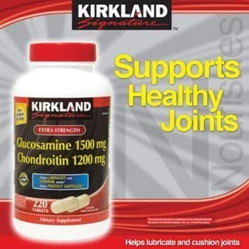 Kirkland Signature Glucosamine HCI 1500mg Chondroitin Sulfate 1200mg, 220 Tablets / New Increased Count, (Pack of 2)