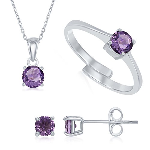 Earrings & Topaz Pink Garnet (Sterling Silver Pink Amethyst 'October' Genuine Birthstone Pendant Necklace, Earrings and Ring Set)