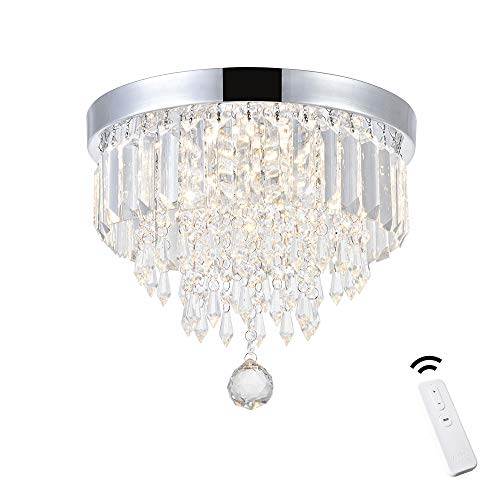 """ANKEE Smart Contemporary LED Ceiling Crystal Chandeliers - Modern Flush Mount Ceiling Light, Work with Alexa and Google Assistant (11.8"""" D)"""