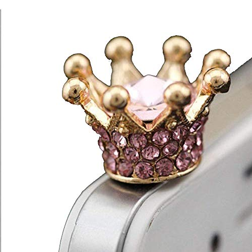 3.5mm 1 pcs Golden with White/Blue /Purple Rhinestone Noble Crown Shinning Crystal Cute Princess Dust Plug Phone Headset Dust Plug Anti Dust Earphone Jack Plug Stopper Cap Cellphone Charm for - Cell Charms Crown Phone