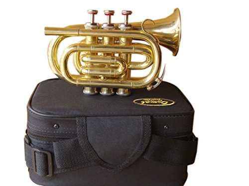 OSWAL Bb Flat Brass Finishing Pocket Trumpet W/Free Case+Mouthpiece by OSWAL