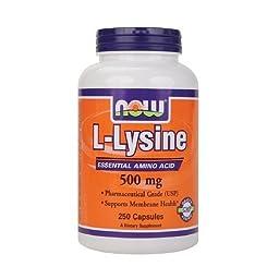 NOW Foods L-Lysine, 500mg, Capsules 250 ea