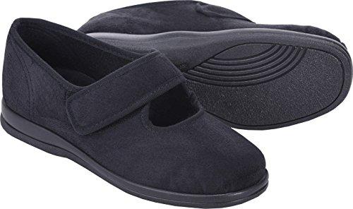 Cosyfeet Skye Shoes - Extra Roomy (Eeeee+ Width Fitting) Black Microfibre 1JFs8