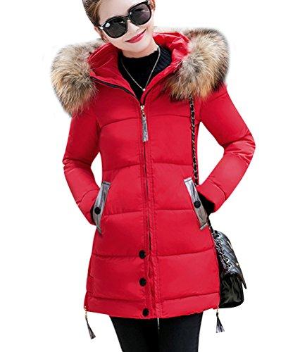 Rojo Plumas Largo De Abrigo Invierno Mujer Abajo Bolsillo Con De Chaqueta Abrigos Elegantes nwOqw407F