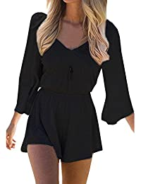 SUNNOW® Women's Sexy Long Sleeves V Neck Backless Short...