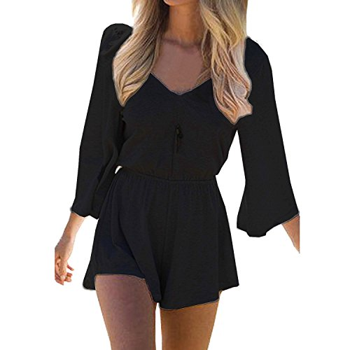 SUNNOW® Women's Sexy Long Sleeves V Neck Backless Short Romper Jumpsuit (Asian S=US(2), Black)