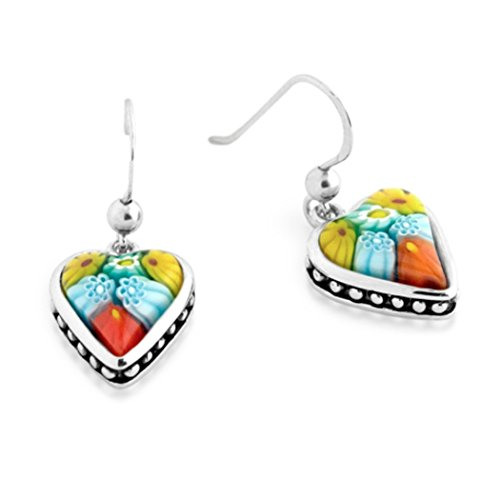 Sterling Silver Multicolor Glass Murano Millefiori Heart Shaped Dangle Earrings Beaded (Made in (Heart Cut Murano Glass)