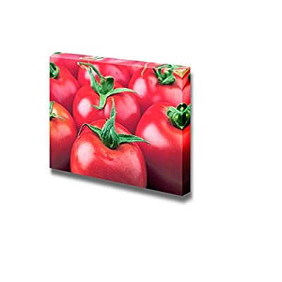 Canvas Prints Wall Art - Close up of Fresh Tomatoes on a Wood Plate. - 16