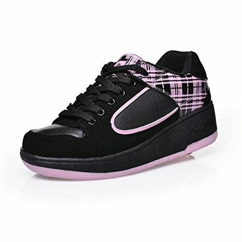 Kids SEVEN wheels Shoes Skate Sneaker Wheel Roller one Boys K Pink for Girls Children 5p4Fg