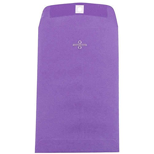 """JAM Paper 6"""" x 9"""" Open End Envelope with Clasp Closure - Violet Recycled - 10/pack"""