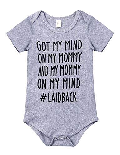 Newborn Baby GOT My Mind ON My Mommy Funny Bodysuits Rompers Outfits(A-Gray,0-3M)
