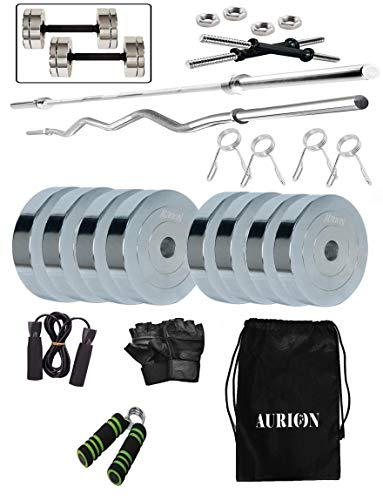 Aurion 18 Kg Chrome Steel Weight Plates Home Gym Pack with 3 FEET Straight BAR and 3 FEET CURL BAR