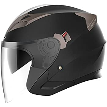 Motorcycle Open Face Helmet DOT Approved - YEMA YM-627 Motorbike Moped Jet Bobber Pilot Crash Chopper 3/4 Half Helmet with Sun Visor for Adult Men Women ...