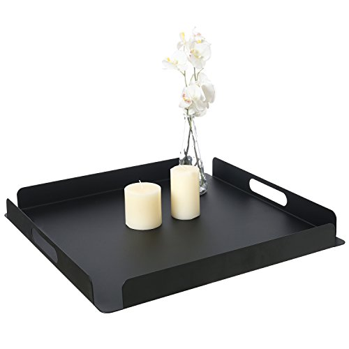 20 Inch Modern Matte Black Square Metal Serving Tray with Cutout Handles