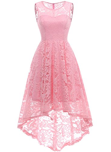 MuaDress 6006 Women's Vintage Floral Lace Sleeveless Hi-Lo Cocktail Formal Swing Dress Pink ()