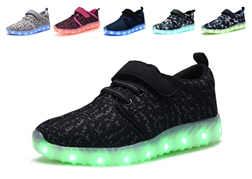 Denater Breathable LED Light Up Shoes With Remote Flashing Sneakers for Kids Boys Girls (25/8.5M US Toddler, A-black)