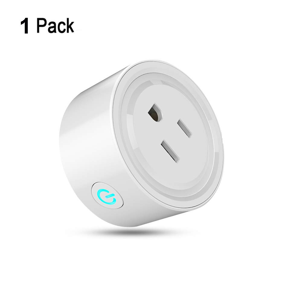 Wifi Smart Plug Mini Socket Wireless Outlet Remote Control Devices with Timing Switch, No Hub Required, Work with Alexa Echo and Google Home and IFTTT - (1 Pack)