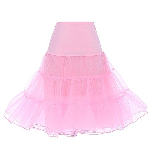 Dresstells Women's Vintage Rockabilly Petticoat Skirt Tutu 1950s Underskirt pink XL
