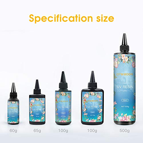 UV Resin Crystal Clear Hard Ultraviolet Curing Epoxy Resin DIY Jewelry Making Art for Pendants Earrings Necklaces Bracelets Nail Art Accessories(65g)