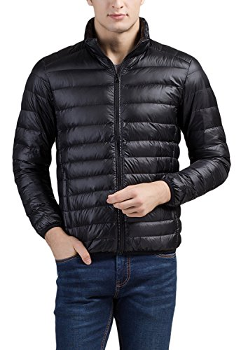 Cheering Men's Packable Down Jacket Winter Coat Black Large