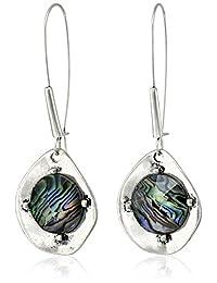 "Robert Lee Morris Soho""Blue Dimension"" Abalone Faceted Bead Sculptural Long Drop Earrings"